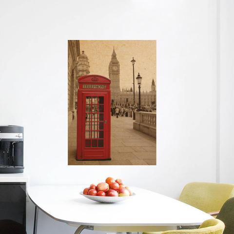 Getek Telepon Booth Kraft Kertas Dinding Poster (Merah) 2