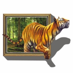 Giant 3D Tiger Jumping Out of Jungle Peel & Stick Wall Decals - intl