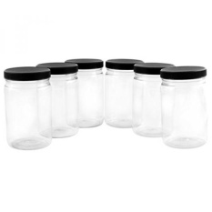 GPL/ 32oz Clear Plastic Jars with Black Ribbed Lids (6 pack): BPA Free PET Quart Size Canisters for Kitchen & Household Storage of Dry Goods, Peanut Butter, and More/ship from USA