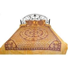 GPL/Batik Dicelup Bedsheet dari Pilkhuwa dengan Printed Mandala Gajah-Murni dengan Cuci Bantal- Warna Biji Adas Warna/kapal dari AMERIKA SERIKAT-Intl