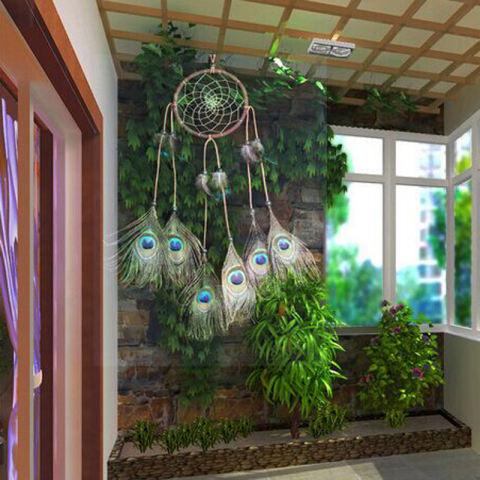 Handmade Dream Catcher dengan Bulu Hiasan Dinding Dekorasi Ornamen Hadiah 3