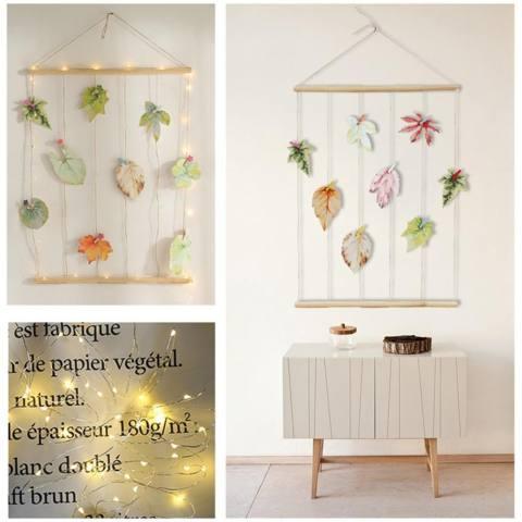 Foto Gantung Display DIY Kayu Bingkai Foto Dinding dengan Klip Daun Kartu dan Lampu Tali-Intl 1