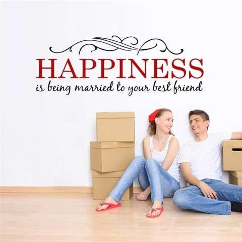 Kebahagiaan Adalah Kutipan Bunga Vines Ruang Keluarga Stiker Dinding Kamar Tidur Stiker Ruangan Anak-anak Poster Seni Mural Hiasan Rumah Vinil-Intl 3