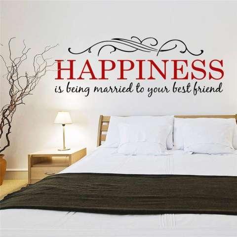 Kebahagiaan Adalah Kutipan Bunga Vines Ruang Keluarga Stiker Dinding Kamar Tidur Stiker Ruangan Anak-anak Poster Seni Mural Hiasan Rumah Vinil-Intl 1