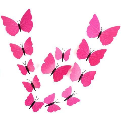 Hbvivid 3D Kupu-kupu Dinding Decors Stiker untuk Dekorasi Rumah 12 Pcs/pack Pola Acak-Mawar-Internasional 1