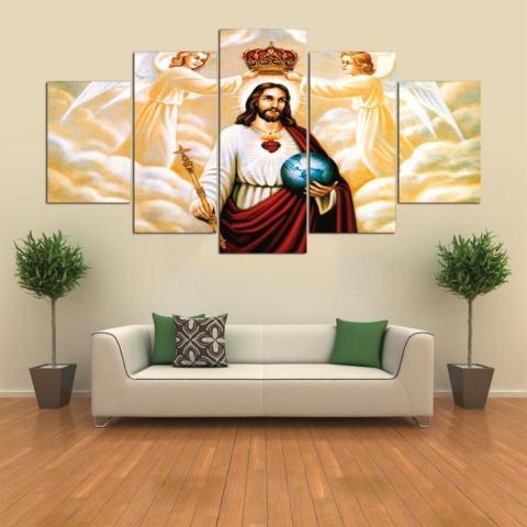 HD Cetak Canvas Art Painting Unframed Inspirational Minyak Yesus Gambar untuk Kamar Tidur 5 Panel Dekorasi Dinding Rumah Lukisan Grup- INTL 1
