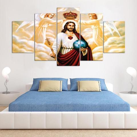 HD Cetak Canvas Art Painting Unframed Inspirational Minyak Yesus Gambar untuk Kamar Tidur 5 Panel Dekorasi Dinding Rumah Lukisan Grup- INTL 3