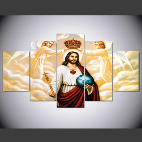HD Cetak Canvas Art Painting Unframed Inspirational Minyak Yesus Gambar untuk Kamar Tidur 5 Panel Dekorasi Dinding Rumah Lukisan Grup- INTL 2