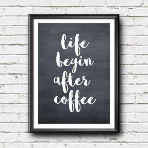Hiasan Dinding -Frame -Motivational Quote - Minimalis - Dekor - Life Begin After Coffee