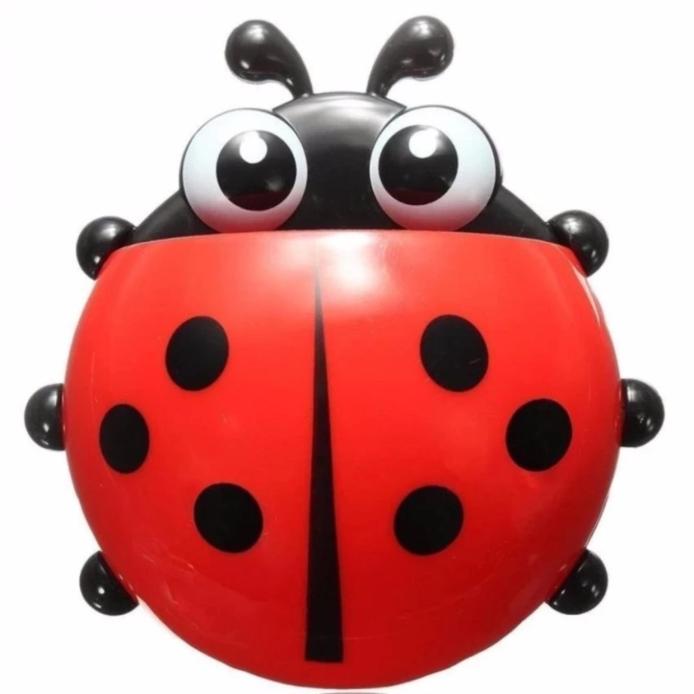 HOLYWINGS - Ladybug Toothbrush / Dispenser Odol Kumbang / Holder Wall Mount Suction Sucker Hook Home Bathroom - MERAH