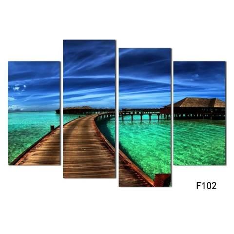 Gambar Hiasan Rumah 4 Piece Pemandangan Laut Biru Air Laut Seni Dinding Modern Gambar Kanvas Cetak Lukisan untuk Ruang Tamu Dekorasi Ruang Tanpa Bingkai 2