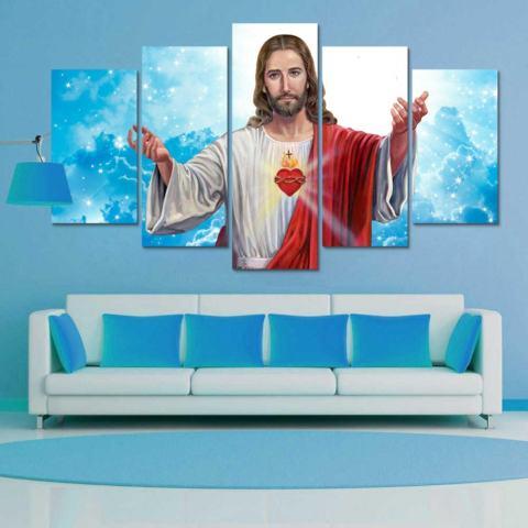 Hiasan Dinding Rumah Dekorasi Lukisan Kanvas Cetak Gambar Yesus untuk Kamar Tidur 5 Pieces Tanpa Bingkai Lukisan Seni Moderen-Internasional 2