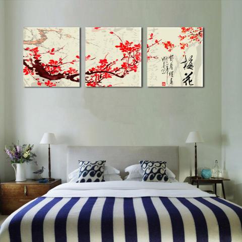 Dekorasi Dinding Dinding Rumah 3 Pieces Modern HD Pemandangan Cetak Lukisan Cat Minyak Di Atas Kanvas China Gaya Klasik Merah Plum Bunga Oil Painting 3
