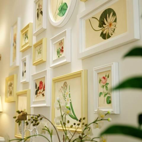 Rumah Wood Gambar Bingkai Set Foto Kreatif Di Dinding Pastoral Gaya Ruang Tamu Dekorasi Dinding Kamar Tidur 145*85 CM Putih-Internasional 1