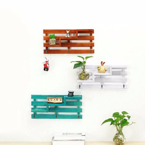 Kait dengan Shelf, baffect® Kayu Mengapung Dinding Shelf Rak Dinding Kayu Retro 3 Kait dengan Rak Mengapung Dinding Mounted Rak dengan Kait untuk Kamar Tidur Mini Tanaman Pot Foto-Internasional 2