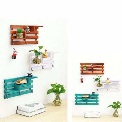 Kait dengan Shelf, baffect® Kayu Mengapung Dinding Shelf Rak Dinding Kayu Retro 3 Kait dengan Rak Mengapung Dinding Mounted Rak dengan Kait untuk Kamar Tidur Mini Tanaman Pot Foto-Internasional 1