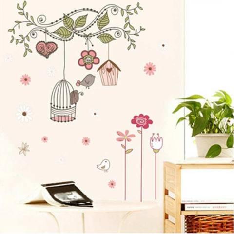 Seksi Jual Pohon Kartun Kandang Dinding Stiker, kamar Anak-anak Ruang Duduk Burung Burung Kartun Pohon Dinding Stiker-Internasional 2