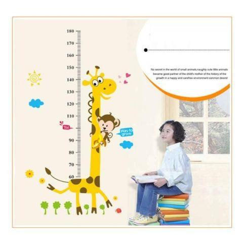 Hot Jual Mural Gambar Jerapah untuk Kamar Anak Dekorasi Stiker Dinding Grafik Pertumbuhan Tinggi Anak-anak DIY-Intl 2