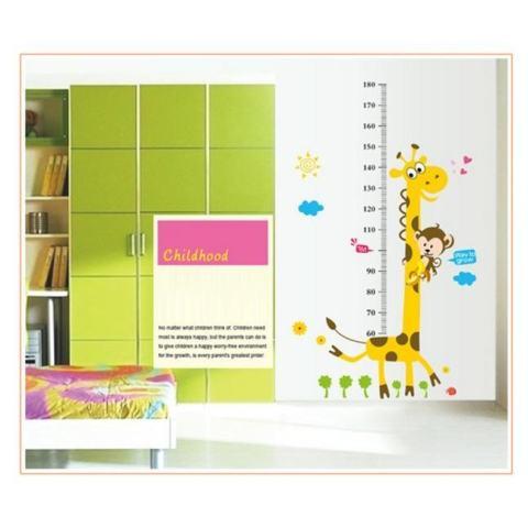 Hot Jual Mural Gambar Jerapah untuk Kamar Anak Dekorasi Stiker Dinding Grafik Pertumbuhan Tinggi Anak-anak DIY-Intl 3