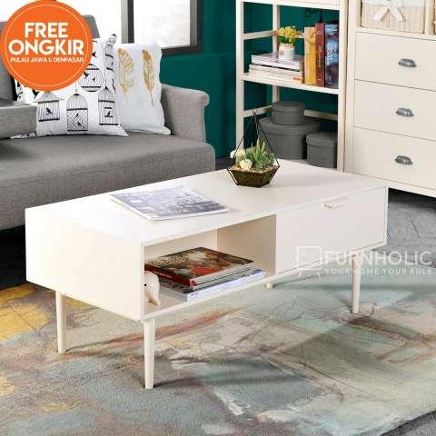 iFurnholic Cecilia Coffee Table - Meja Sofa - Putih Tulang - Gratis Pengiriman Pulau Jawa dan