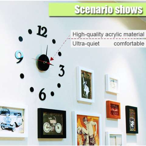 Jam Dinding DIY Acrylic Diameter 30-50cm Wall Clock Giant Unik Hiasan Dekorasi Interior Rumah Manual Silent Sweeping Movement Tidak Bersuara Penghias Tembok Ruangan Besar AA Battery Water and Steam Resistant Awet - Hitam 4