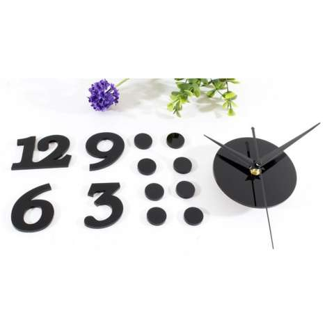 Jam Dinding DIY Acrylic Diameter 30-50cm Wall Clock Giant Unik Hiasan Dekorasi Interior Rumah Manual Silent Sweeping Movement Tidak Bersuara Penghias Tembok Ruangan Besar AA Battery Water and Steam Resistant Awet - Hitam 3