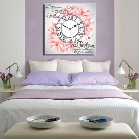 Jam Dinding Flower Pink #2 40x40cm Hiasan Lukisan Kanvas Decor Murah Pajangan Poster Jam Retro Vintage Unik 1