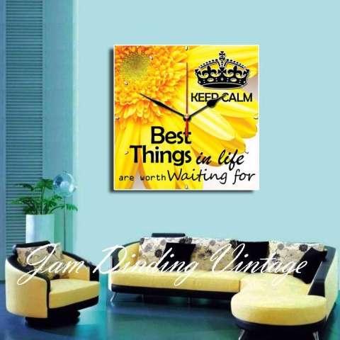 Jam Dinding Quote Life Bunga Matahari 40x40cm Hiasan Dekor Pajangan Jam Vintage Unik Aksesoris Murah untuk Kantor Kamar Coffee Cafe Rumah 1