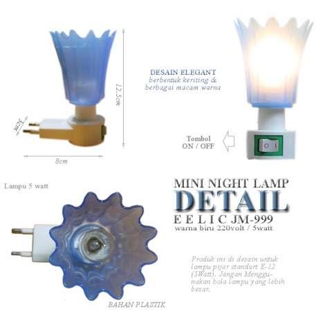 EELIC JM-999 Mini Warna Biru Model Keriting Lampu cantik Malam Hari Tidak Silau Di