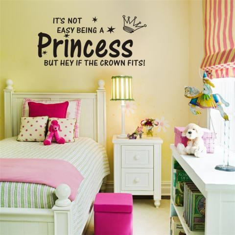 JinGle seni stiker dinding Vinyl hiasan kamar Putri perempuan (hitam) 1