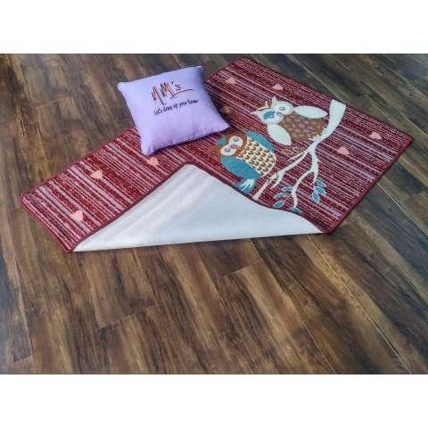 Tren-D-rugs - Karpet Karakter Anak-anak 100 cm x 140 cm Owl Merah JK12MR - NMs 1