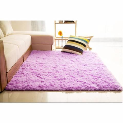 Harga Jual Karpet Bulu Berbulu Anti Selip Tikar Karpet Permadani Yang Menutupi Lantai 150x100cm Ungu Harga