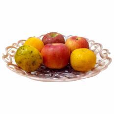 Keranjang buah / keranjang hantaran fruit basket bulat - silver