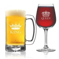 King Beer Queen Wine Glass (Set of 2) - Couples Newlyweds Wedding Gift - His and Hers Drinkware - Mr and Mrs - Couple Glassware - Funny Fancy Wine Mug Glasses - Cool Royalty Novelty Drinking Cups - intl