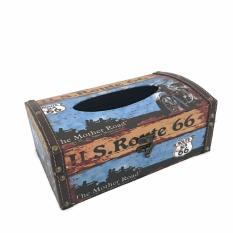 LaCarLa Decorative Retro Vintage Design Hinged Refillable Tissue Box Holder Cover - Tempat Tissue Corak Antik Jadul Kuno - Route 66