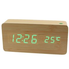 Led Clock Digital Wood Clock Jam Meja - JK-90B - Cokelat