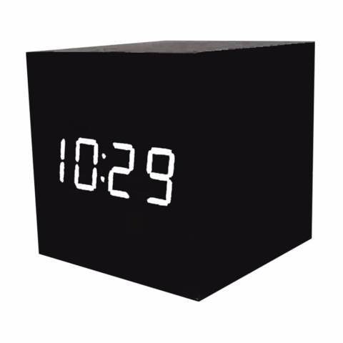 Led Clock Digital Wood Clock Jam Meja JK-808 Motif Kayu Alarm Waker Weker Minimalis LED Display Watch Weeker Desk Clock Unik Modern Digitime Bentuk Kotak Cube Pajangan Hiasan Dekorasi Rumah Kamar Unique Design - Hitam 1