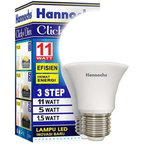 1bh Hannochs LED 11w Click & Dim 3Level Tingkat Terang - Putih
