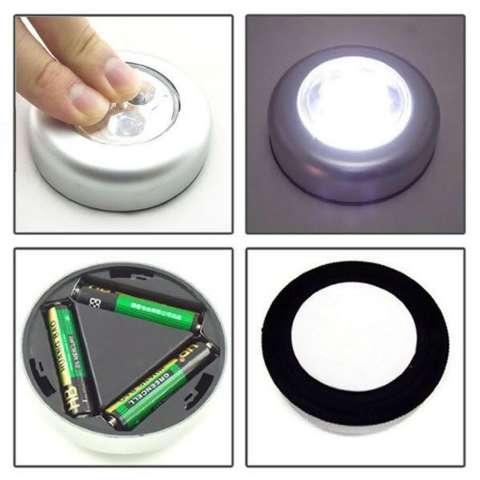 LED Light Buton Touch / Lampu Tempel Hias Etalase / Lemar i/ Dinding / Pintu / Mobil - 3 pcs 2