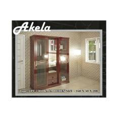 Akela - Lemari Pakaian 3 Pintu 7301 Kaca Reben Susu (Slide/Swing) - Brown (Khusus kota Medan saja + Free Ongkir)
