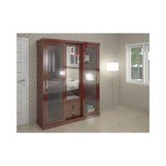 Akela - Lemari Pakaian 3 Pintu 7301 Kaca Reben Susu (Slide/Swing) - White (Khusus kota Medan saja + Free Ongkir)