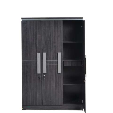 Lemari Pakaian 3 Pintu Cermin 1/2 Toalet Popular LP 8298 - Black Oak