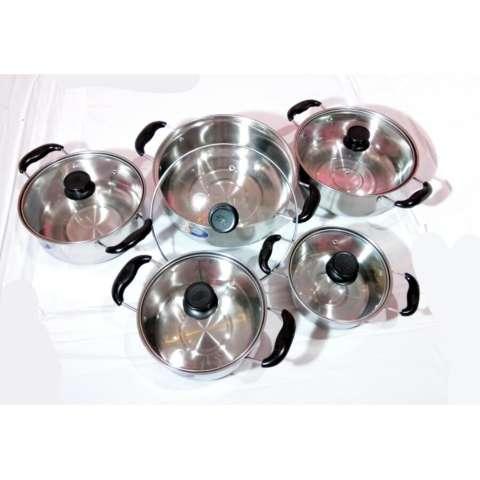 Leoshop888 Panci Set 10Pcs Panci Stainless Steel set 10PCS