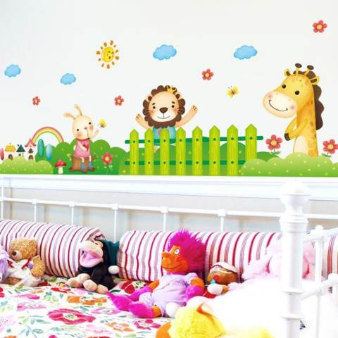 Singa Kelinci Giraffe Wall Sticker Decal Rumah Dekorasi PVC Mural Wallpaper House Art Gambar Ruang Tamu Dewasa Senior Anak Remaja Bayi Dekorasi Kamar Tidur-Internasional 3