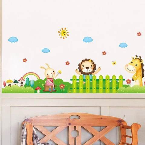 Singa Kelinci Giraffe Wall Sticker Decal Rumah Dekorasi PVC Mural Wallpaper House Art Gambar Ruang Tamu Dewasa Senior Anak Remaja Bayi Dekorasi Kamar Tidur-Internasional 2