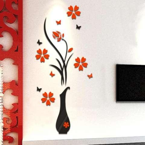 Ruang Tamu Kamar Tidur Rumah Diseduh Sendiri Menghias Vas Bunga Pohon Kristal Akrilik 3D Wall Stiker 40 Cm X 80 CM 2