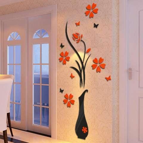 Ruang Tamu Kamar Tidur Rumah Diseduh Sendiri Menghias Vas Bunga Pohon Kristal Akrilik 3D Wall Stiker 40 Cm X 80 CM 1