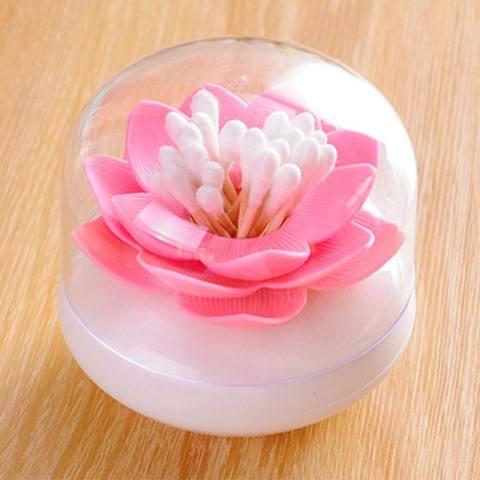 Lotus Cotton Ball/Swab Holder Tipis Kecil Tusuk Gigi Organizer Penyimpanan Kosmetik untuk Kamar Mandi Vanity 3 Warna- INTL 1