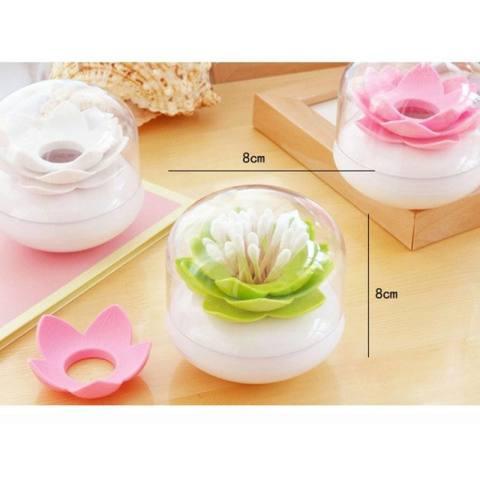 Lotus Cotton Ball/Swab Holder Tipis Kecil Tusuk Gigi Organizer Penyimpanan Kosmetik untuk Kamar Mandi Vanity 3 Warna- INTL 3