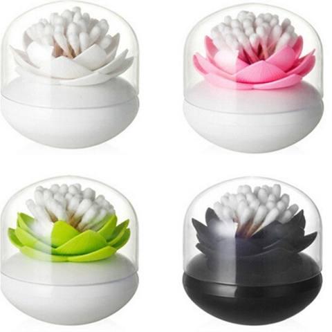 Lotus Cotton Ball/Swab Holder Tipis Kecil Tusuk Gigi Organizer Penyimpanan Kosmetik untuk Kamar Mandi Vanity 3 Warna- INTL 2